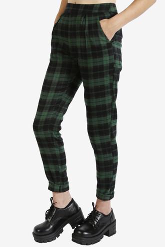pants plaid 90s style green high waisted pants