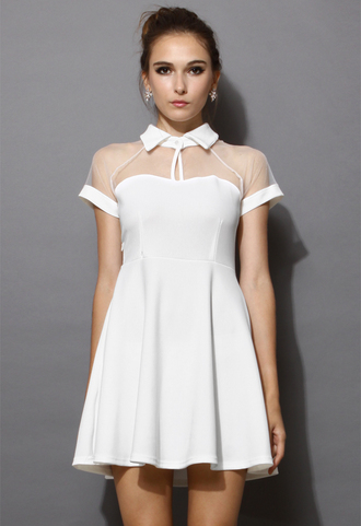 dress peak collar skater dress white mesh pleated chic women blogger
