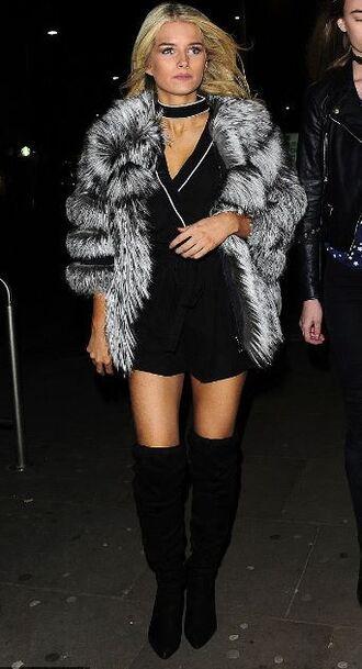 romper top blouse lottie moss over the knee boots fur fur coat model off-duty