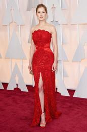 dress,oscars 2015,gown,strapless,rosamund pike,red dress,red carpet dress