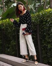 pants,wide-leg pants,top,black to,polka dots,shoes,bag