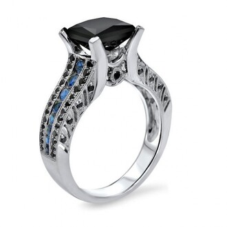 jewels princess cut black diamond engagement ring engagement ring ring ring set black diamond ring blue sapphire ring 2.0 carat princess cut black diamond engagement ring with blue sapphire in white gold plated silver fine jewelry nice rings evolees.com