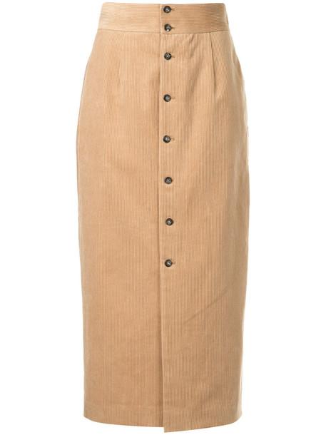 skirt high women cotton brown