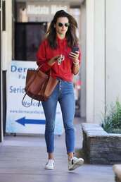 jeans,alessandra ambrosio,model off-duty,streetstyle,fall outfits,hoodie,casual