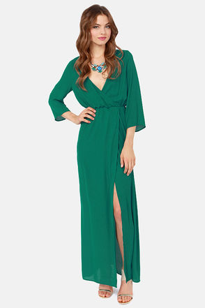 Sexy Teal Dress - Wrap Dress - Maxi Dress - $49.00