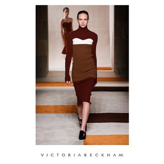 dress victoria beckham dress bodycon dress striped dress brown dress long sleeve dress midi dress fall dress shoes black shoes runway