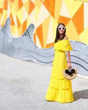 dress,tumblr,off the shoulder,off the shoulder dress,maxi dress,long dress,yellow,yellow dress,sunglasses,white sunglasses,bag,basket bag,pom poms