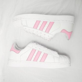 shoes adidas superstar pink white snickers adidas superstars