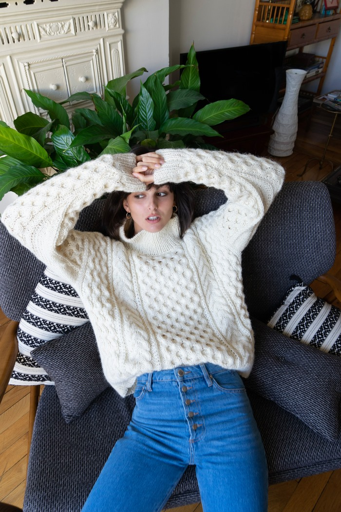 Aran Roll Neck Sweater