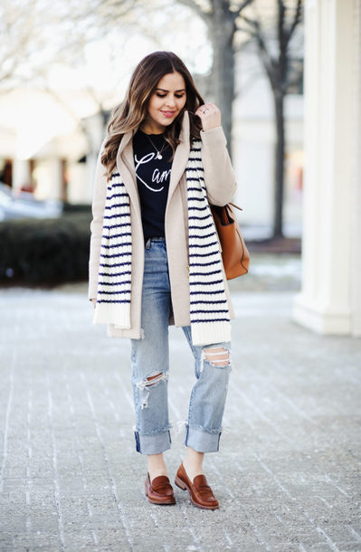 dress corilynn blogger sweater jeans coat scarf bag jewels shoes loafers winter outfits beige coat