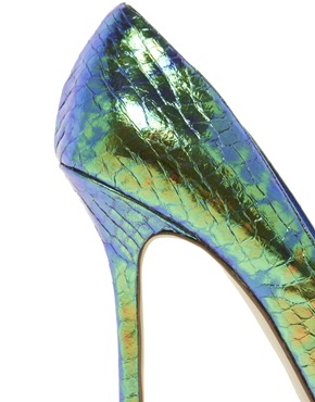 Dune | Dune Burst Green Metallic Heeled Court Shoes at ASOS