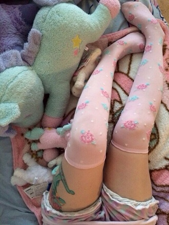 pants pink roses kawaii cute socks pink socks pink stockings polka dot floral stockings thigh highs lolita