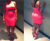 dress,neon,pink,midi,bodycon,cut-out,pink and black,dress cut mini,mini,neon pink dress