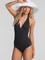 The ruched black one piece swimsuit
