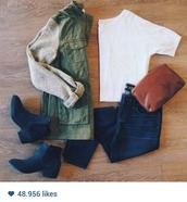 jacket,green,military style,boots,black,black boots,army green,basic tee,white,cropped,crop tops,basic,t-shirt,jeans,brown bag,bag,millitary,shoes,green jacket,cargo jacket,grey sleeves,utility jacket,army green jacket,white crop tops,blue jeans,black booties,top,coat,olive green jacket,dark blue jeans,black ankle boots,ankle boots,low heels,long sleeves,grey,zip,pockets,zip-up,sweater,buttons,fall outfits,fall sweater