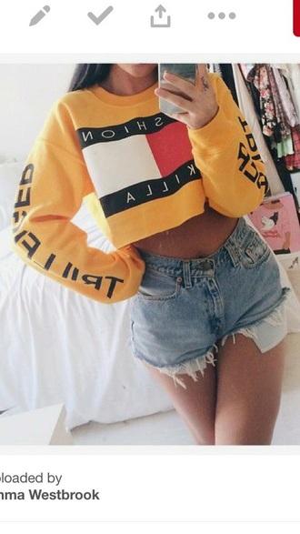 sweater tommy hilfiger jumper white tommy hilfiger crop top
