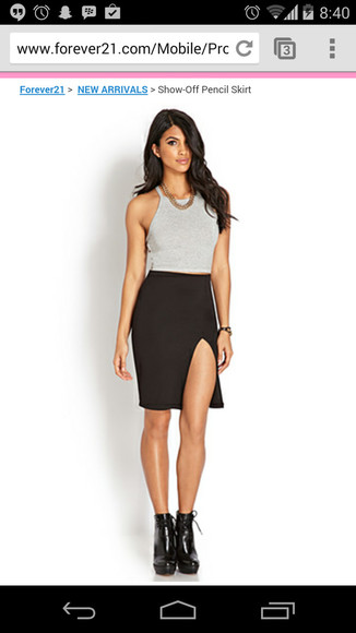 skirt black black pencil skirt pencil skirt slit skirt slit