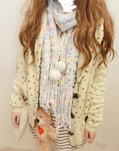 sweater,small love heart cardigan,love heart,cardigan,cream cardigan,scarf