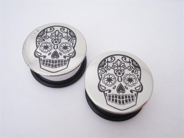 Steel Sugar Skull Plugs (2 gauge - 1 inch)