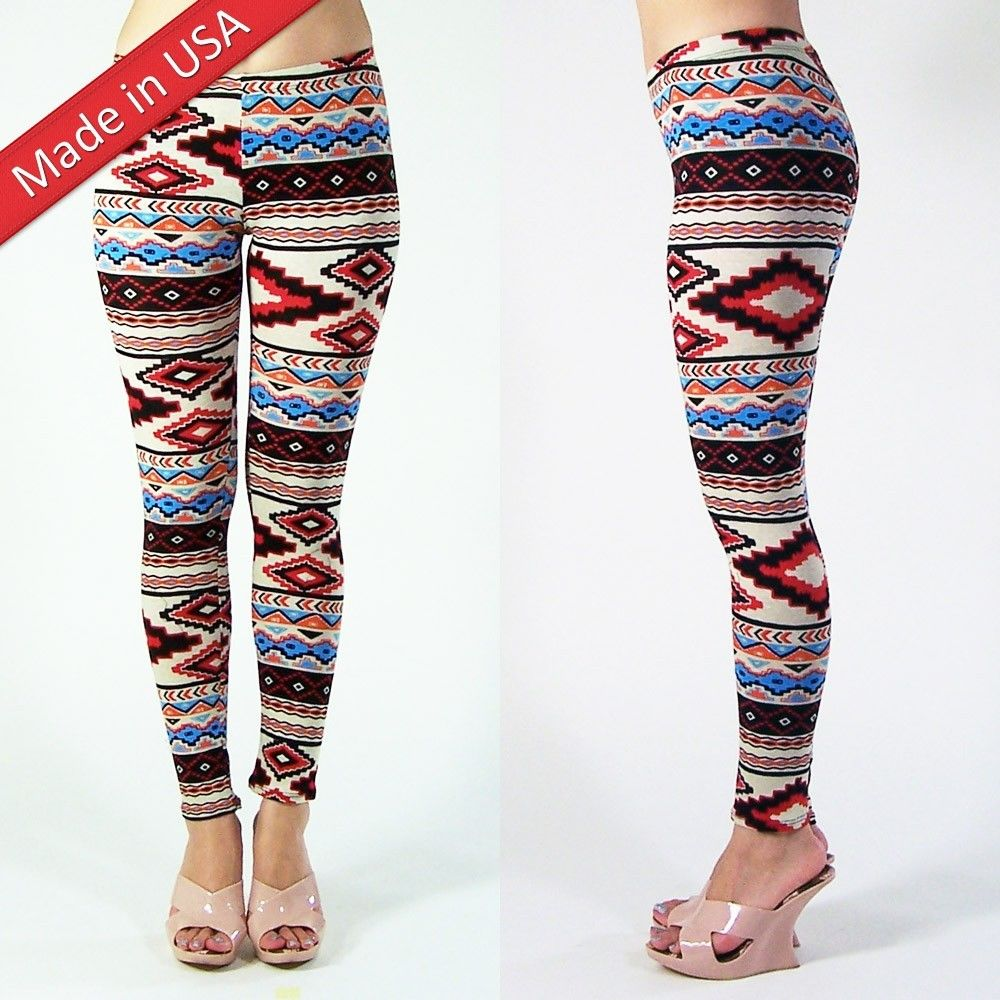 New 2014 Sexy Celebrity Skinny Aztec Tribal Print Comfy Leggings Made In USA