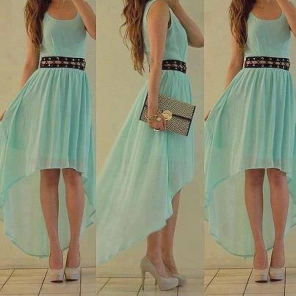 dress blue aqua cute beautiful prom prom dress long homecoming dress high-low dresses shorts bag blue prom dress high low high low dress summer dress summer aborable hi-low