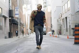 alexander liang blogger coat sweater jeans shoes sunglasses belt