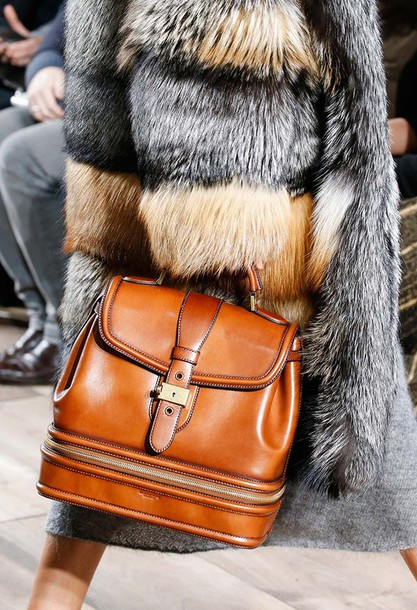 blogger fur fur coat brown leather bag leather bag bag fashion week 2015 home accessory coat