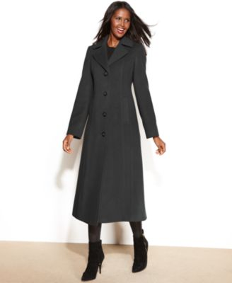 Anne Klein Coat, Double-Breasted Wool-Blend Hooded Maxi - Coats - Women - Macy's
