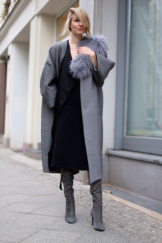 ohh couture blogger grey coat long coat suede boots oversized winter outfits coat top skirt t-shirt
