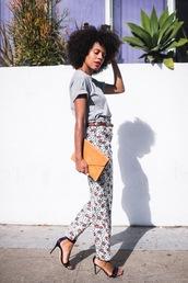 t-shirt,tumblr,grey t-shirt,pants,floral,floral panties,bag,clutch,sandals,sandal heels,high heel sandals,shoes