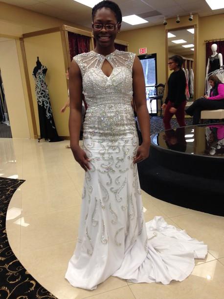 dress rachel allan high neck white dress beaded dress