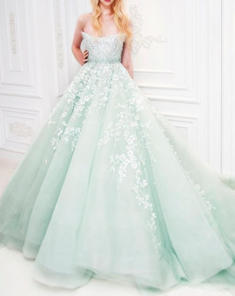 Dress: alice in wonderland, mint, ball gown dress ...