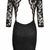 Black Little Black Dress - Open Back, 3/4 Sleeve Black | UsTrendy