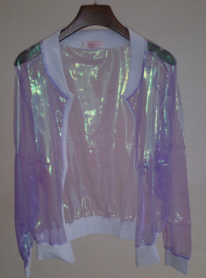 Online Shop laser sunscreen jersey outerwear hologram holographic ... 1064f35f26e2