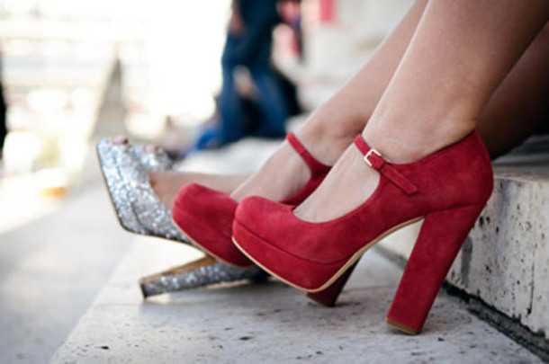 Shoes: red, high heels, buckles, mary jane, chunky, silver ...
