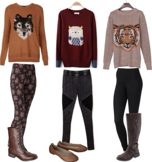jacket animal sweater jeans wolf tiger owl casual
