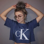 top,sunglasses,hippie glasses,nerd glasses,tumblr,tumblr girl,tumblr fashion,shirt,navy,calvin klein,crop tops,oversized,urban,white,black,glasses,crop,blue top,t-shirt,blue,calvin klein shirt