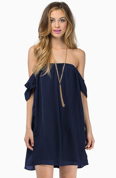 chiffon blue dress off the shoulder dress boho hippie cute navy blue dark blue