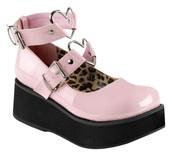 shoes,heart cut out,pastel,pastel pink,leopard print,kawaii,cute,cutesy,cutie,women,girl shoes,girl,harajuku,lolita