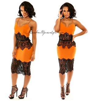 dress high heels style lace dress orange dress cocktail dresses