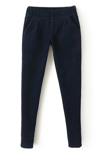 ROMWE | Romwe Elastic Waist Blue Velvet Pants, The Latest Street Fashion