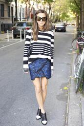 something navy,sweater,skirt,shoes,sunglasses,bag