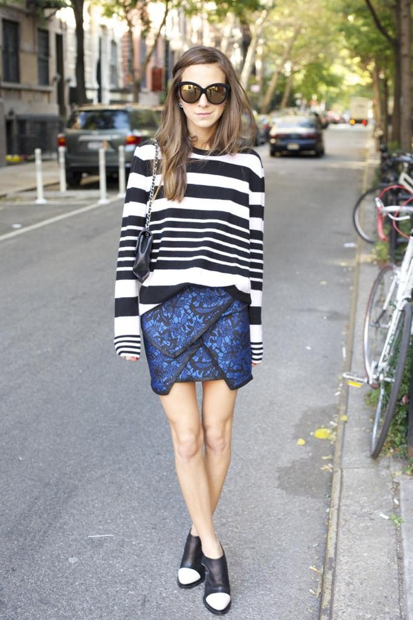 something navy sweater skirt shoes sunglasses bag