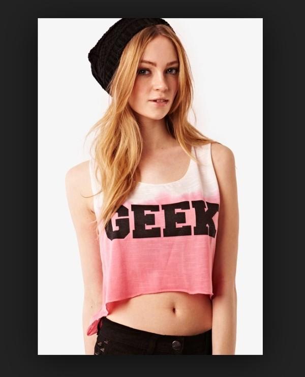 shirt crop tops geek pink hat