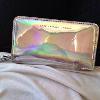 bag marc by marc jacobs marc jacobs clutch silver wallet purse holographic glow in the dark