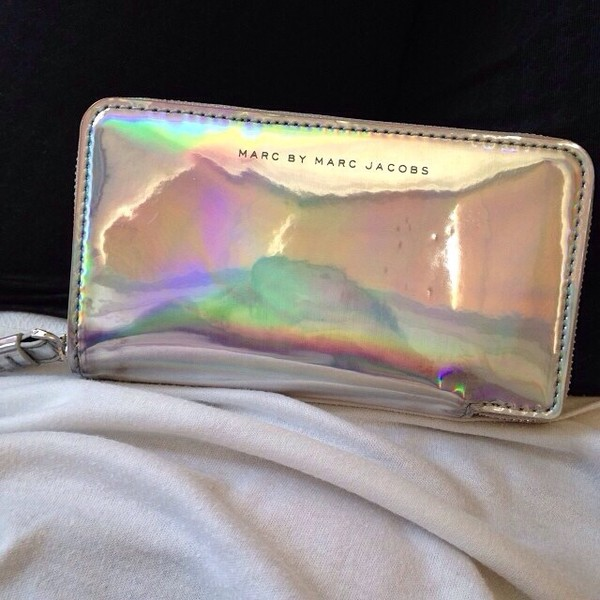 bag marc by marc jacobs marc jacobs clutch silver bags and purses wallet holographic orange cute purse tumblr