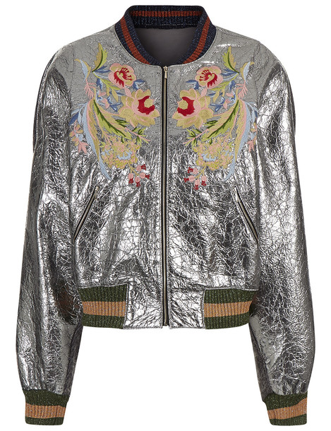 fe9b33f3ea Aviu Silver Embroidered Bomber Jacket