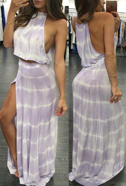 Sophie Purple Maxi Skirt Set