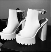 shoes,chunky heels open toe in pink or white,white,heels