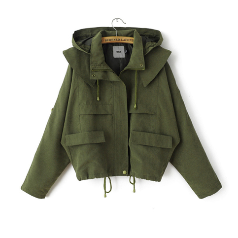 Hooded drawstring green army jacket from doublelw on storenvy